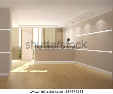 3d rendering of a modern light office lobby with reception - stock photo