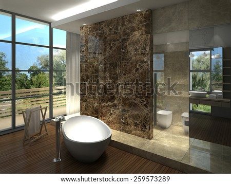 3D rendering of a modern luxurious bathroom