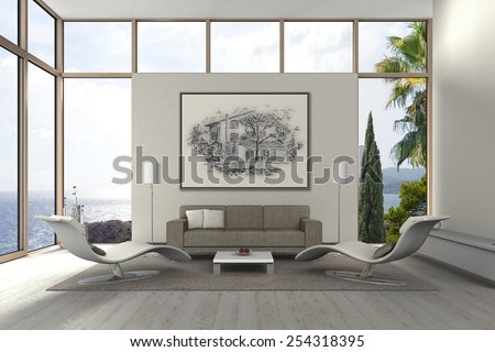 3D rendering of a modern mediterranean seaside living room  - stock photo