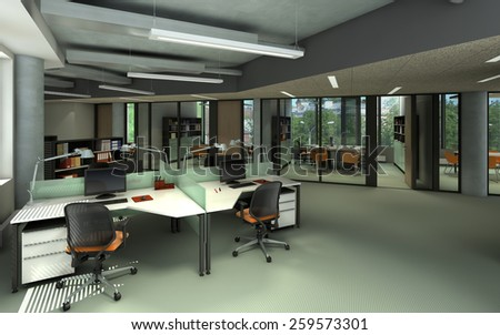 3D rendering of a modern office interior - stock photo