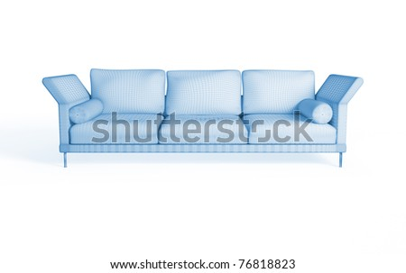 3d rendering of a modern sofa. Isolated on white background - stock photo