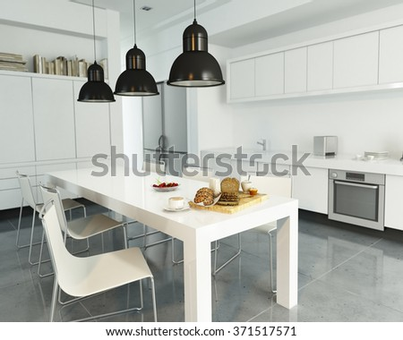 3D rendering of a modern spacious white kitchen - stock photo