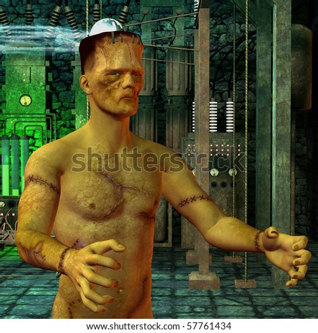 3D rendering of a monster in the laboratory - stock photo