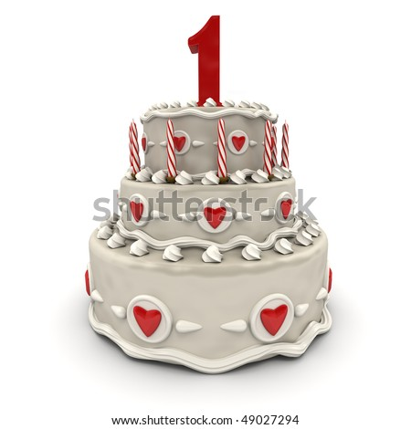 3D rendering of a multi-tiered cake with a number one on top