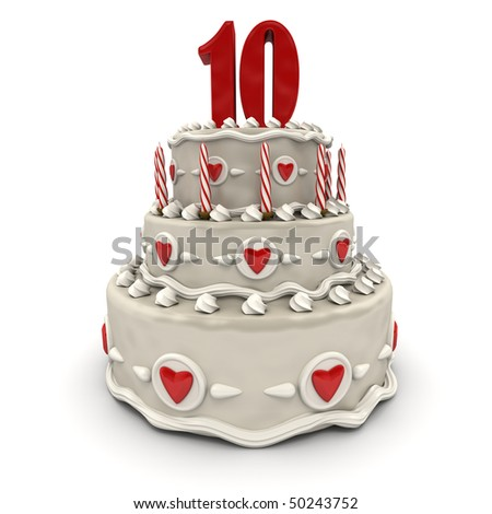 3D rendering of a multi-tiered cake with a number ten on top - stock photo