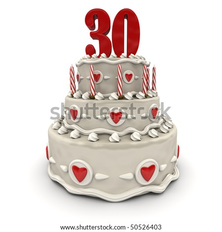 3D rendering of a multi-tiered cake with a number thirty on top
