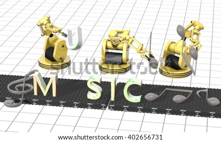 3D rendering of a music Factory - production of musical notes - stock photo