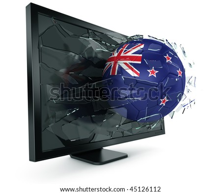 3d rendering of a New Zealander soccerball breaking through monitor - stock photo