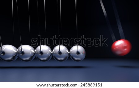 3D rendering of a Newtons cradle  - stock photo