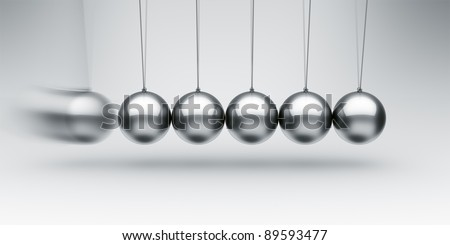 3d rendering of a Newtons cradle with one ball about to impact - stock photo