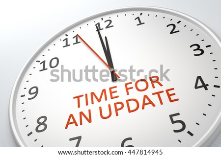 3D rendering of a nice clock with text time for an update