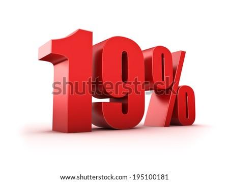 3D Rendering of a nineteen percent symbol - stock photo
