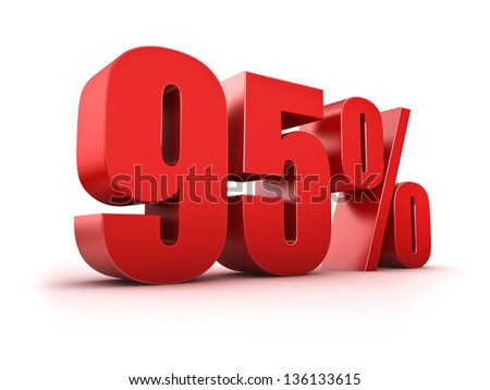 3D Rendering of a ninety-five percent symbol - stock photo