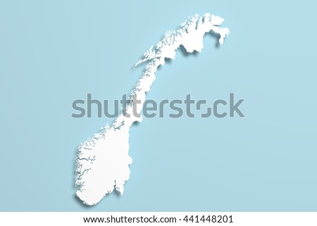 3d rendering of a Norway map on blue background.