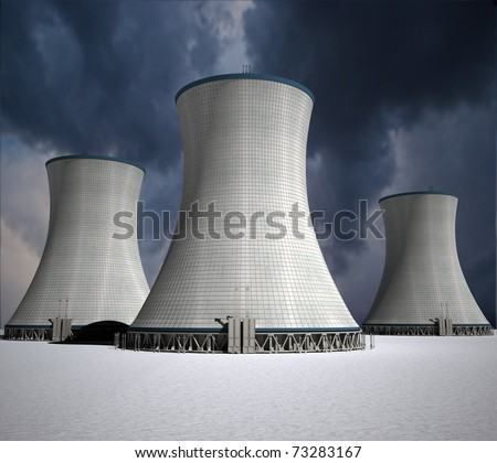 3D rendering of a nuclear power station - stock photo