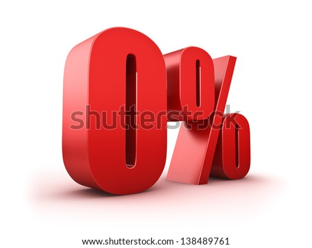 3D Rendering of a null percent symbol - stock photo