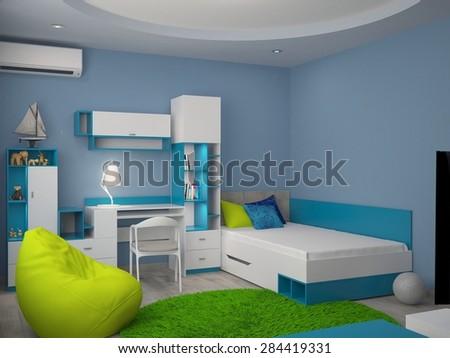 3d rendering of a nursery interior design - stock photo