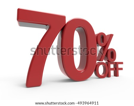 3d rendering of a 70% off symbol, isolated on white background, left leaning
