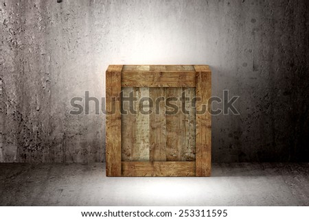 3d rendering of a old wood box - stock photo