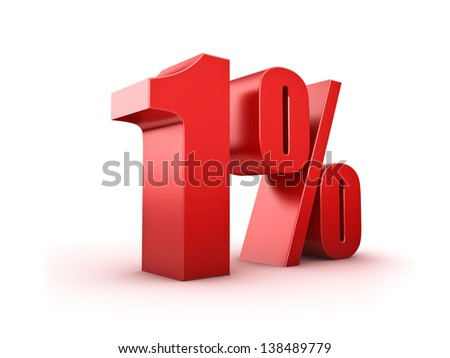 3D Rendering of a one percent symbol - stock photo