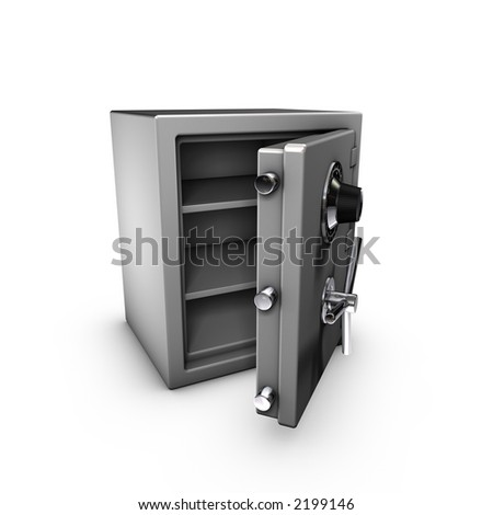 3d rendering of a opened safe - stock photo