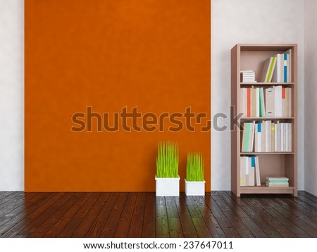 3D rendering of a orange room - stock photo