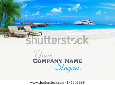 3D rendering of a pair of lounge chairs by a jetty on a tropical idyllic beach with a luxurious yacht passing by - stock photo