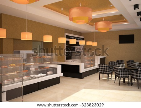 3d rendering of a patisserie interior design - stock photo