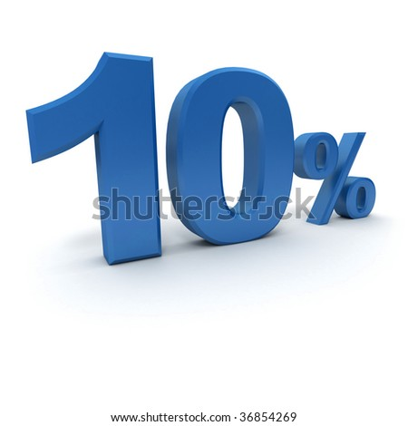 3D rendering of a 10 per cent in blue letters on a white background - stock photo