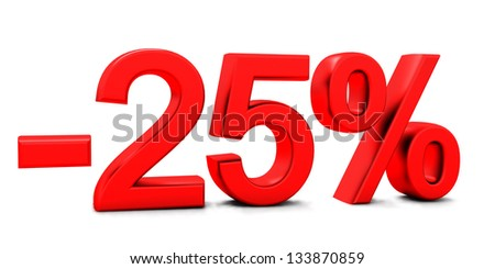 3D rendering of a 25 per cent in red letters on a white background - stock photo