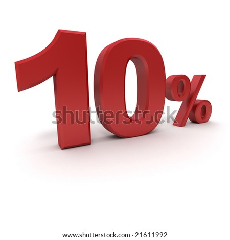 3D rendering of a 10 per cent in red letters on a white background