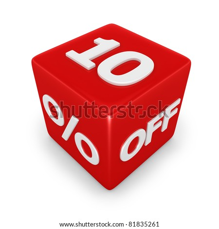 3D rendering of a 10 per cent off - stock photo