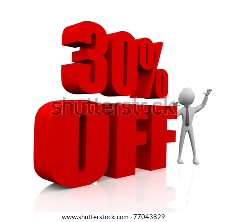 3D rendering of a 30 per cent Sale Promotion in red letters on a white background - stock photo