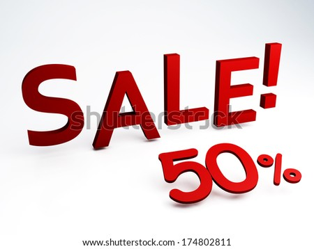 3D rendering of a 50 percent - stock photo