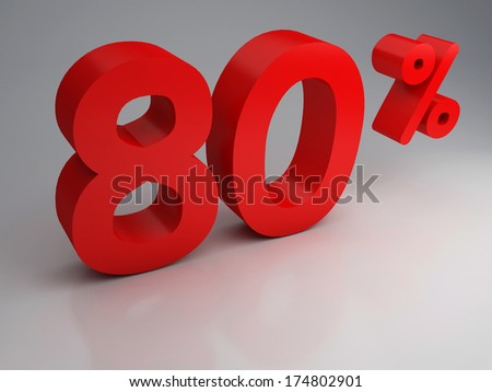 3D rendering of a 80 percent - stock photo