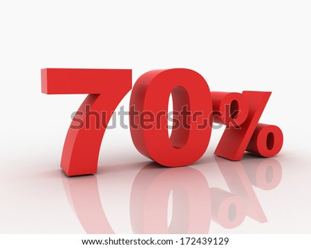 3d rendering of a 70 percent discount in red letters on a white background