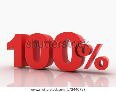 3d rendering of a 100 percent discount in red letters on a white background