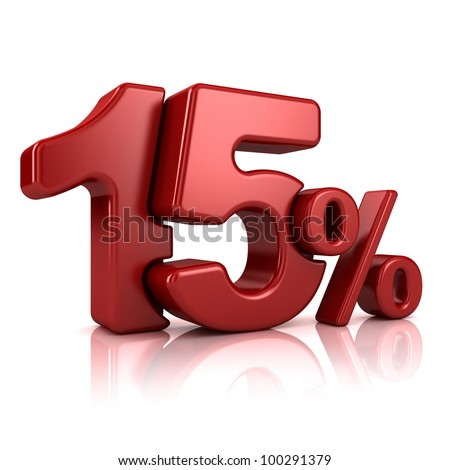 3D rendering of a 15 percent in red letters on a white background - stock photo