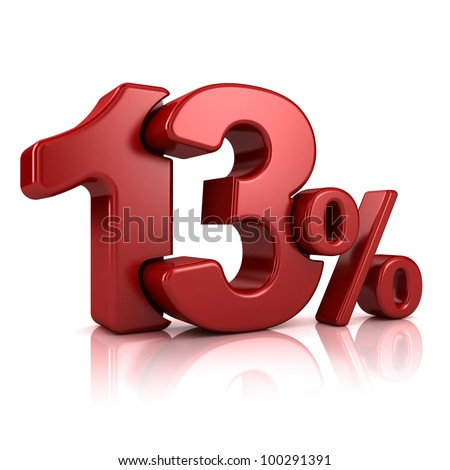 3D rendering of a 13 percent in red letters on a white background