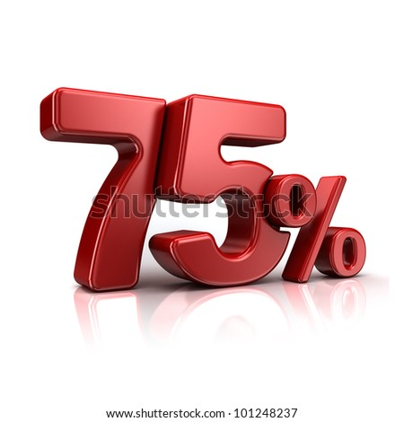 3D rendering of a 75 percent in red letters on a white background