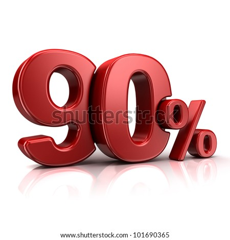 3D rendering of a 90 percent in red letters on a white background