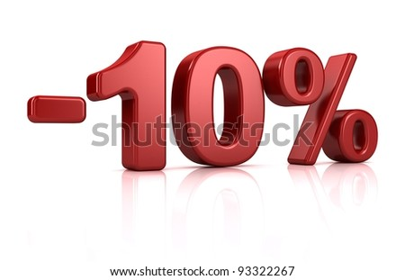 3D rendering of a -10 percent in red letters on a white background - stock photo