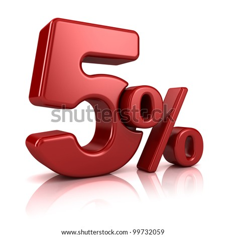 3D rendering of a 5 percent in red letters on a white background