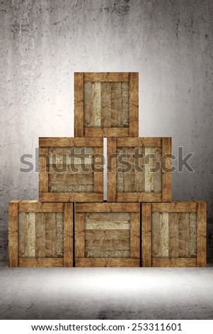 3d rendering of a pile of an old boxes on a warehouse - stock photo