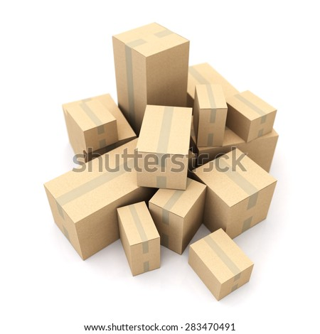 3D rendering of a pile of boxes - stock photo