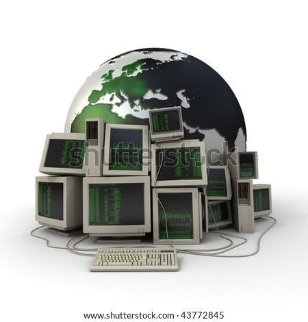 3D rendering of  a pile of computers with a binary code on the screens and the Earth on the background