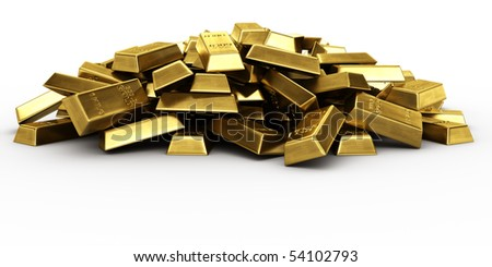 3d rendering of a pile of gold bars - stock photo