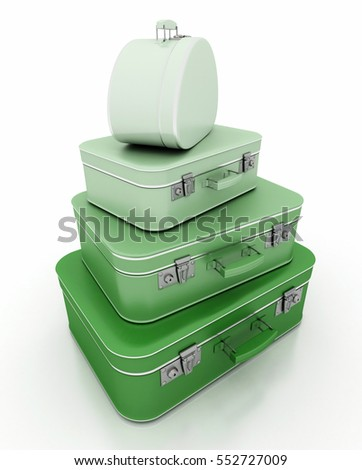 3D Rendering of a pile of green luggage with a retro look
