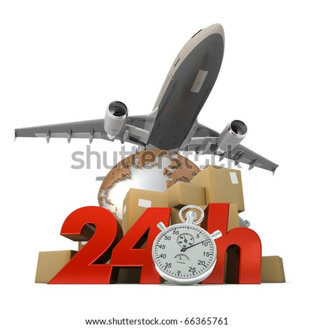 3D rendering of  a pile of packages a van, a truck and an airplane with the words 24 Hrs and a chronometer - stock photo