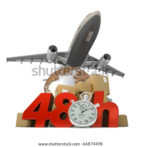 3D rendering of  a pile of packages a van, a truck and an airplane with the words 48 Hrs and a chronometer - stock photo